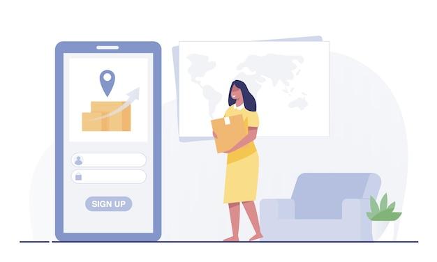 Femme tenant une boîte à colis avec un téléphone portable par service de livraison. femme attendant de livrer des colis.