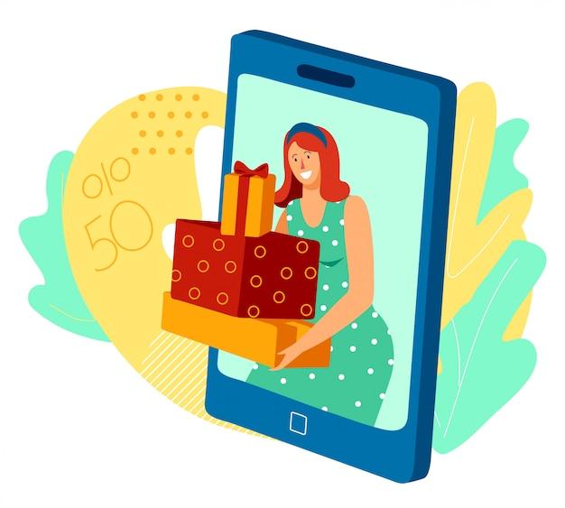 Femme tenant des cadeaux, vente de coffrets cadeaux en ligne dans l'application mobile, illustration vectorielle
