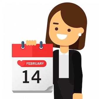 Femme tenant un calendrier saint valentin