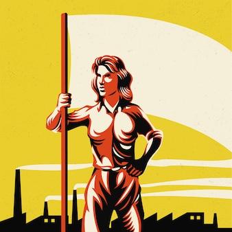 Femme tenant un drapeau avec illustration de fond d'usine