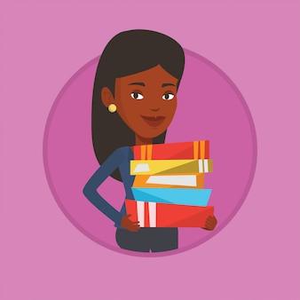Femme tenant une pile de livres vector illustration.