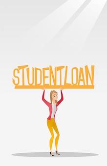 Femme tenant signe de prêt étudiant.
