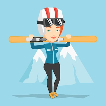 Femme tenant des skis vector illustration.