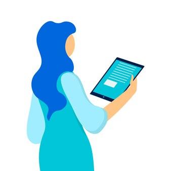 Femme tenant une tablette vector illustration