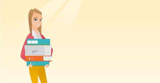 Femme tenant des tas de livres vector illustration.