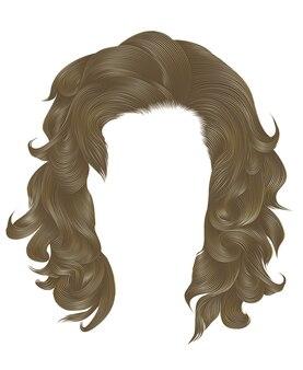 Femme tendance cheveux bouclés couleur blonde. longueur moyenne . style de beauté. réaliste .