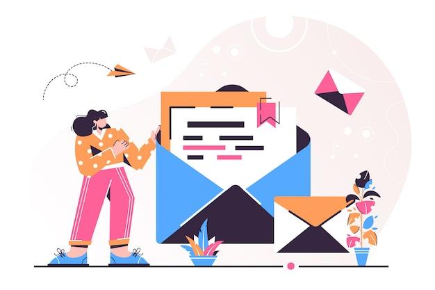 Femme, tenir, courrier, illustration