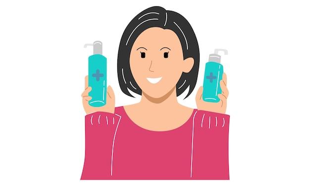 Femme tenir un désinfectant pour les mains