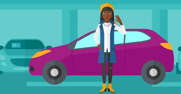 Femme, tenue, clés, voiture neuve