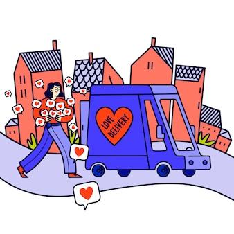 Femme, tenue, cœurs, amour, livraison