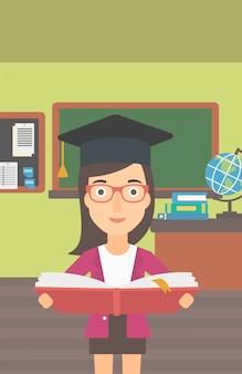 Femme, tenue, graduation, tenue, livre