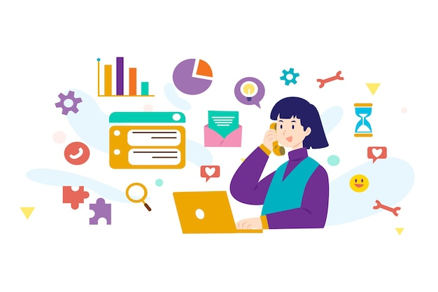 Femme, tenue, ordinateur portable, multitâche