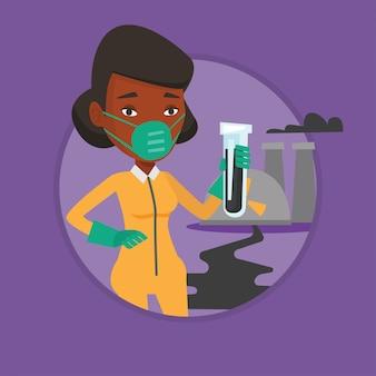 Femme en tenue de radioprotection avec tube à essai.
