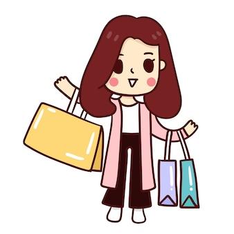 Femme, tenue, sacs shopping