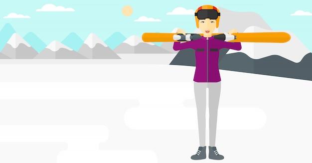 Femme, tenue, skis