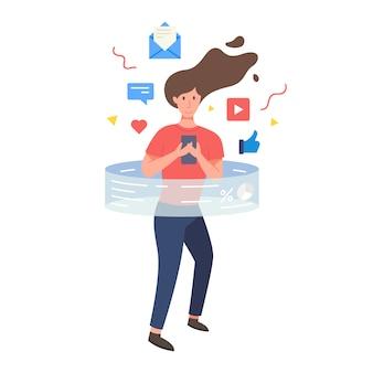 Femme, tenue, smartphone, deux, mains