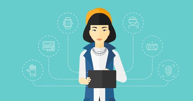 Femme, tenue, tablette informatique
