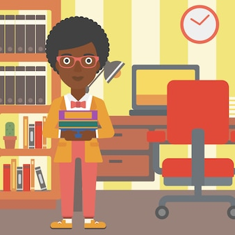 Femme, tenue, tas, de, livres