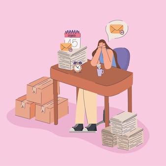 Femme tergiverser sur le lieu de travail