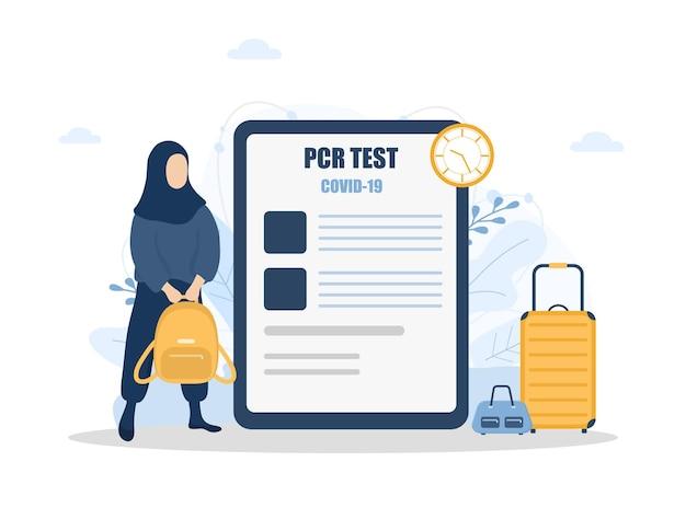 Femme avec test pcr. nouvelle norme pour voyager. fille musulmane en bonne santé avec sac à dos