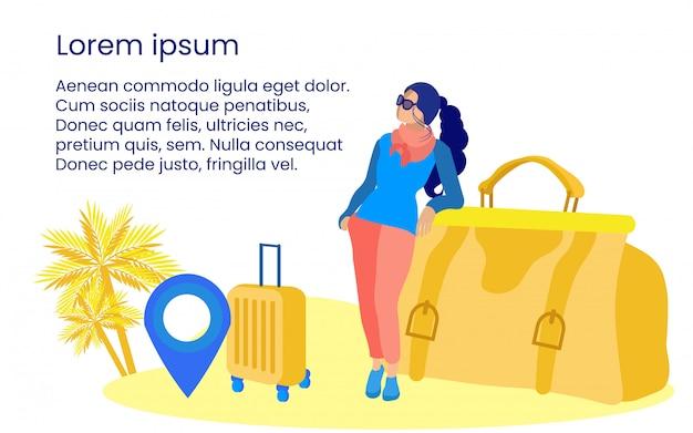 Femme touriste avec valise et sac de voyage.