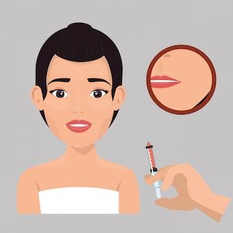 Femme avec traitement botox