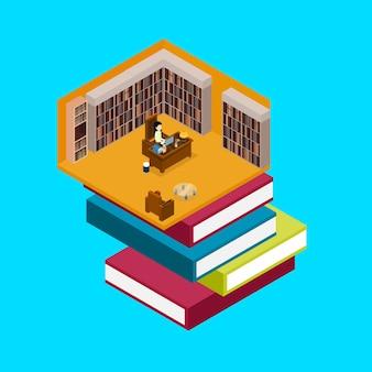 Femme, travail, à, ordinateur portable, dans, librairie libraty, 3d, isométrique