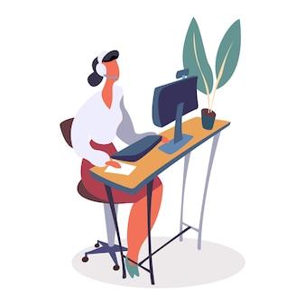 Femme travaillant au helpdesk