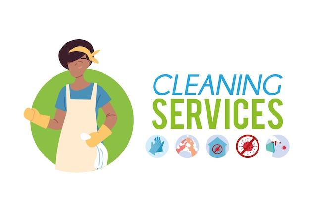 Femme travaillant dans la conception d'illustration de service de nettoyage