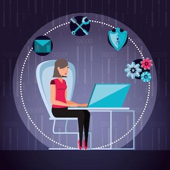 Femme travaillant et définir des icônes