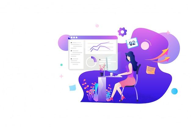 Une femme travaillant sur le design plat statistique de marketing. gestion marketing et analyse de produits