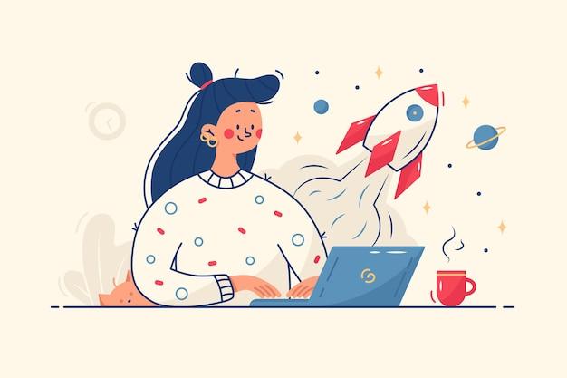 Femme travaillant sur l'illustration de démarrage