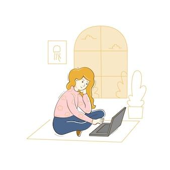 Femme Travaillant à La Maison Avec Ordinateur Vecteur Premium
