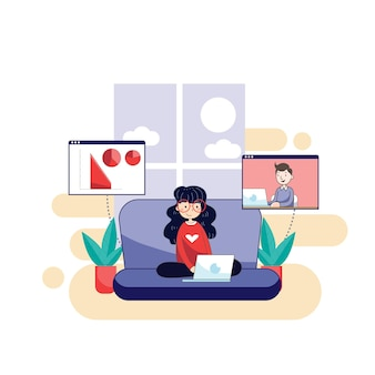 Femme travaillant à la maison avec votre ordinateur portable pour prévenir l'infection virale