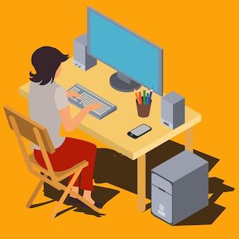 Femme travaillant sur ordinateur au vecteur isométrique de bureau