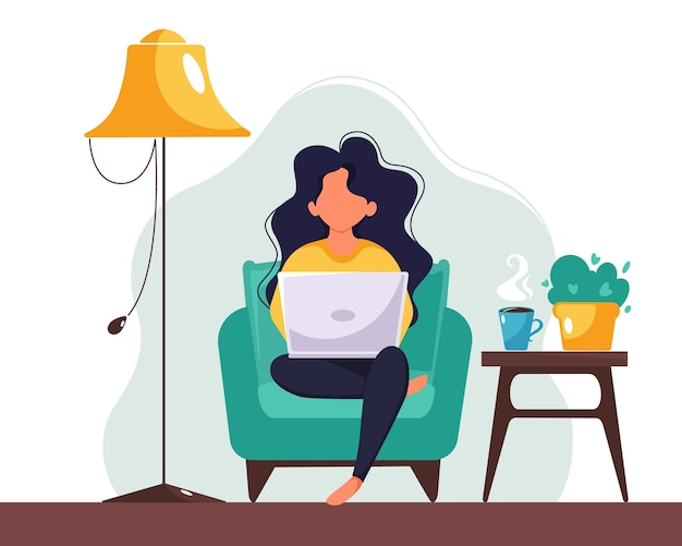 Femme travaillant sur ordinateur portable à la maison. freelance, étude, concept de travail à distance. illustration dans un style plat.