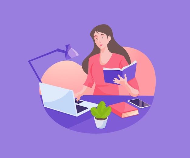 Une femme travaillant avec un ordinateur portable à son bureau