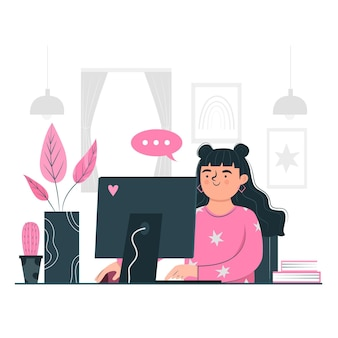 Femme travaillant à partir de son concept de télétravail maison