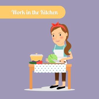 Femme travaille dans la cuisine