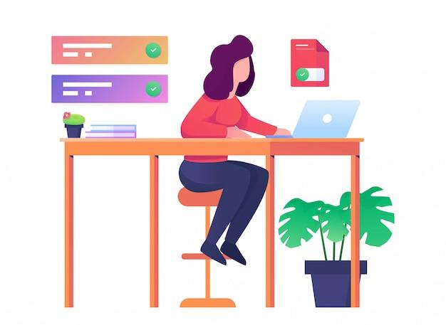 Femme travaille en illustration plat bureau