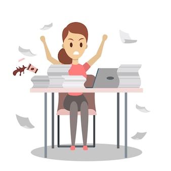 Femme travaille tard dans la nuit. caractère de bureau en colère fatigué sur le lieu de travail. idée de délai. plat