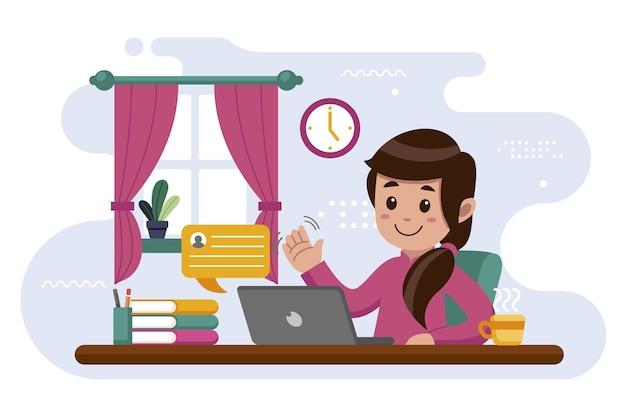 Femme, travailler maison
