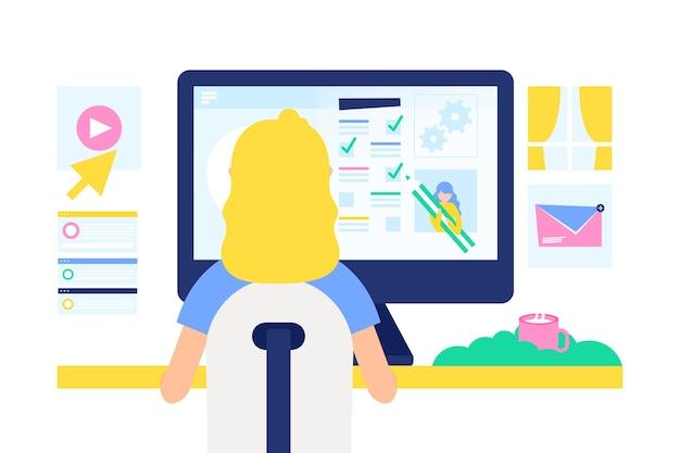 Femme, travailler ordinateur