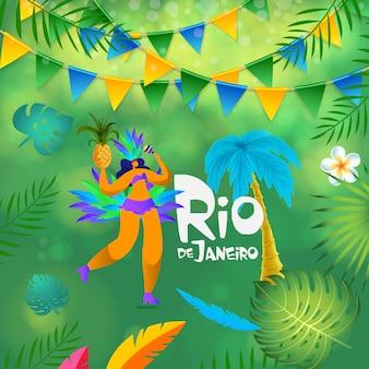Femme tropicale du carnaval de rio de janeiro