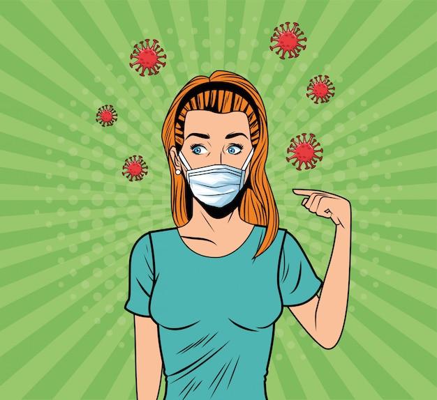 Femme utilisant un masque facial pour le style pop art covid19