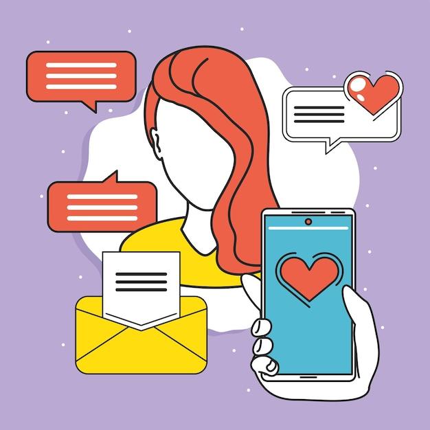 Femme utilisant les médias sociaux mobiles