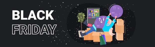 Femme utilisant un ordinateur portable acheter en ligne dans l'application informatique vendredi noir grande vente concept illustration vectorielle horizontale pleine longueur