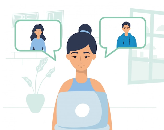 Femme utilisant un ordinateur portable pour communiquer et rester à la maison