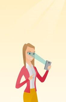 Femme utilisant un scanner d'iris pour déverrouiller un téléphone portable