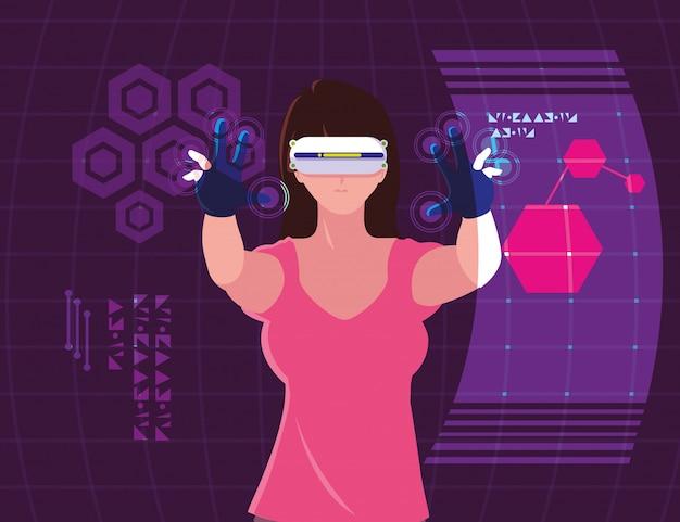 Femme utilisant la technologie de la réalité augmentée